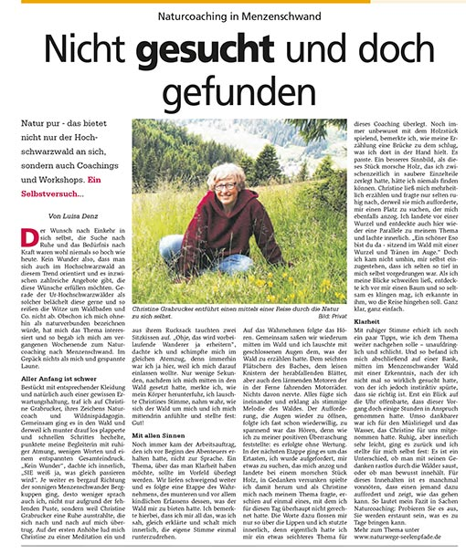 NaturCoaching Artikel Hochschwarzwaldkurier