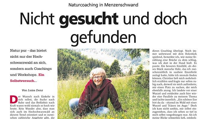 Wie L. Denz vom Hochschwarzwaldkurier das NaturCoaching bei mir erlebt hat